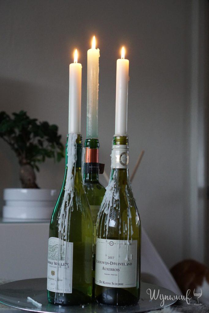 wijnfles kandelaar